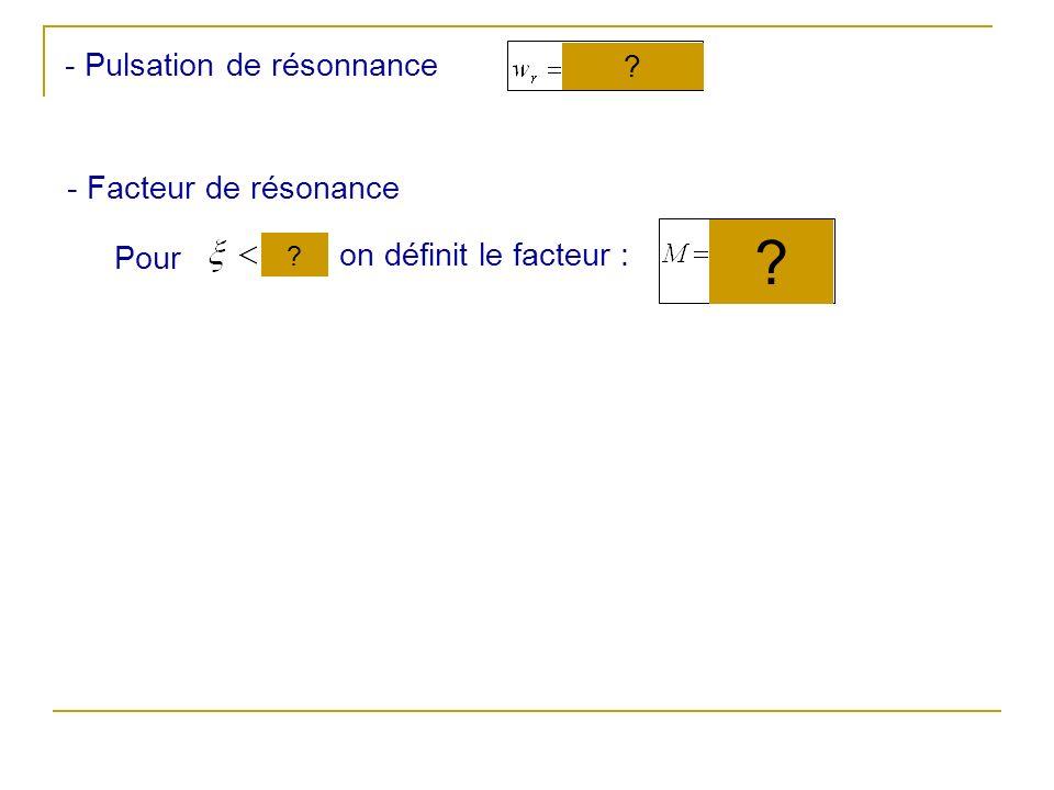 - Facteur de résonance Pour on définit le facteur : ? ? - Pulsation de résonnance ?