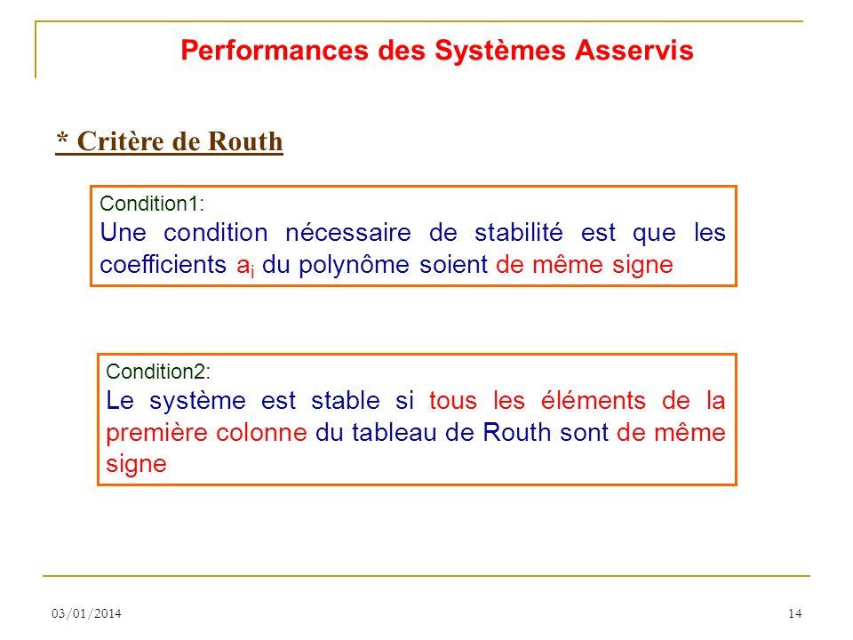 03/01/201414 * Critère de Routh Condition1: Une condition nécessaire de stabilité est que les coefficients a i du polynôme soient de même signe Condition2: Le système est stable si tous les éléments de la première colonne du tableau de Routh sont de même signe Performances des Systèmes Asservis
