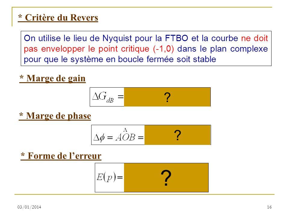 03/01/201416 * Critère du Revers On utilise le lieu de Nyquist pour la FTBO et la courbe ne doit pas envelopper le point critique (-1,0) dans le plan