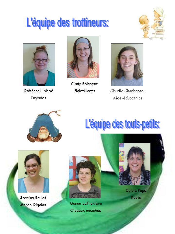 Rébécca LAbbé Dryades Cindy Bélanger Scintillants Claudie Charboneau Aide-éducatrice Jessica Goulet Mango-Rigolos Manon Lafrenière Oiseaux mouches Syl