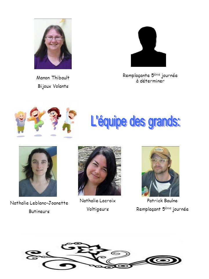 Nathalie Leblanc-Joanette Butineurs Nathalie Lacroix Voltigeurs Patrick Baulne Remplaçant 5 ème journée Remplaçante 5 ème journée à déterminer Manon T