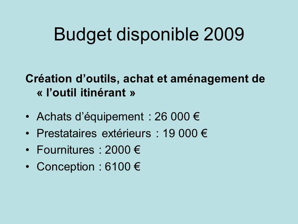 Budget disponible 2009 Création doutils, achat et aménagement de « loutil itinérant » Achats déquipement : 26 000 Prestataires extérieurs : 19 000 Fou