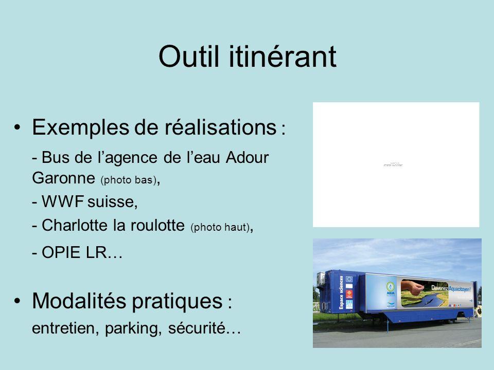 Outil itinérant Exemples de réalisations : - Bus de lagence de leau Adour Garonne (photo bas), - WWF suisse, - Charlotte la roulotte (photo haut), - O