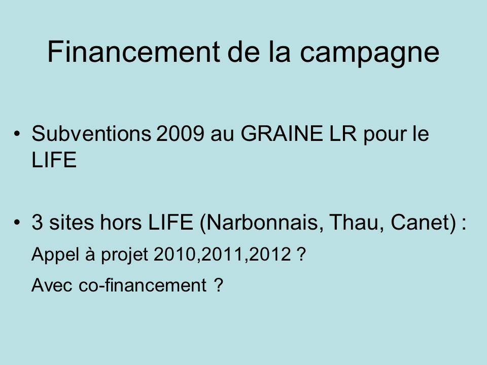 Financement de la campagne Subventions 2009 au GRAINE LR pour le LIFE 3 sites hors LIFE (Narbonnais, Thau, Canet) : Appel à projet 2010,2011,2012 ? Av