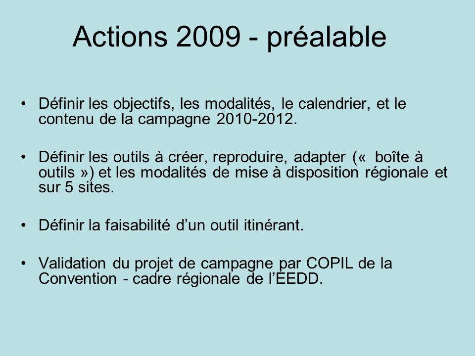 Actions 2009 - préalable Définir les objectifs, les modalités, le calendrier, et le contenu de la campagne 2010-2012. Définir les outils à créer, repr