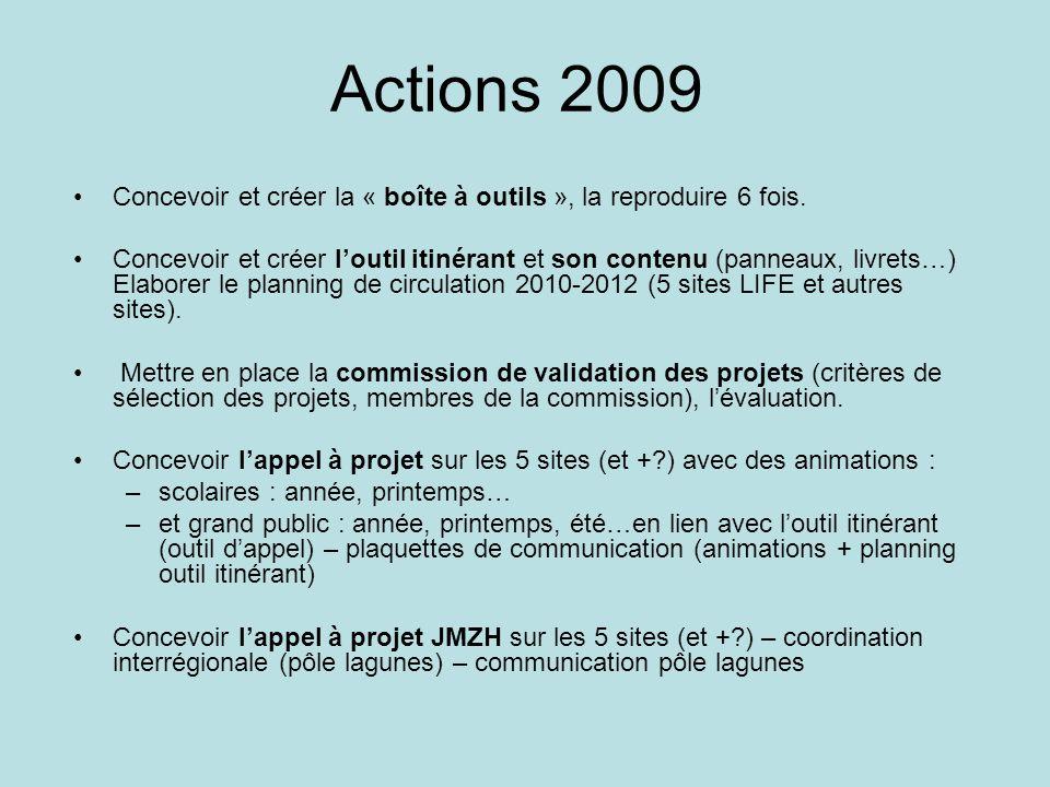 Actions 2009 Concevoir et créer la « boîte à outils », la reproduire 6 fois. Concevoir et créer loutil itinérant et son contenu (panneaux, livrets…) E