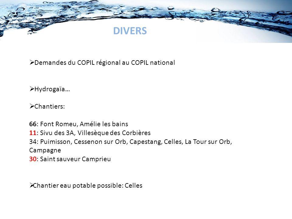 DIVERS Demandes du COPIL régional au COPIL national Hydrogaïa… Chantiers: 66: Font Romeu, Amélie les bains 11: Sivu des 3A, Villesèque des Corbières 3