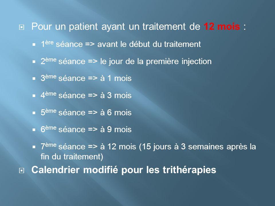 Pour un patient ayant un traitement de 12 mois : 1 ère séance => avant le début du traitement 2 ème séance => le jour de la première injection 3 ème s
