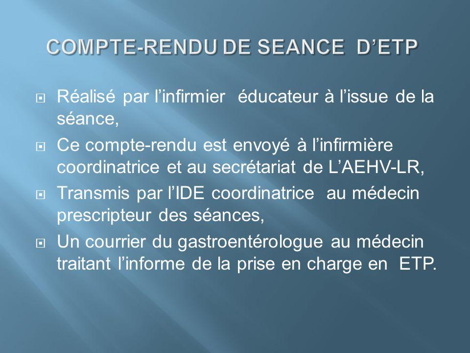 Réalisé par linfirmier éducateur à lissue de la séance, Ce compte-rendu est envoyé à linfirmière coordinatrice et au secrétariat de LAEHV-LR, Transmis