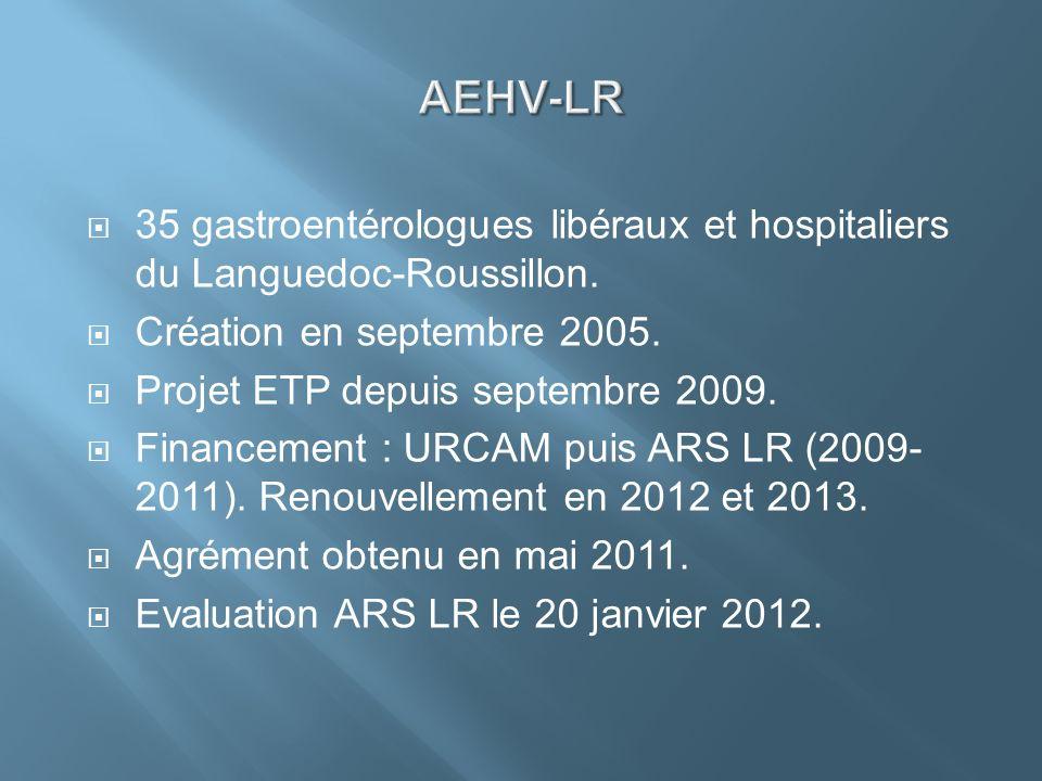 35 gastroentérologues libéraux et hospitaliers du Languedoc-Roussillon. Création en septembre 2005. Projet ETP depuis septembre 2009. Financement : UR