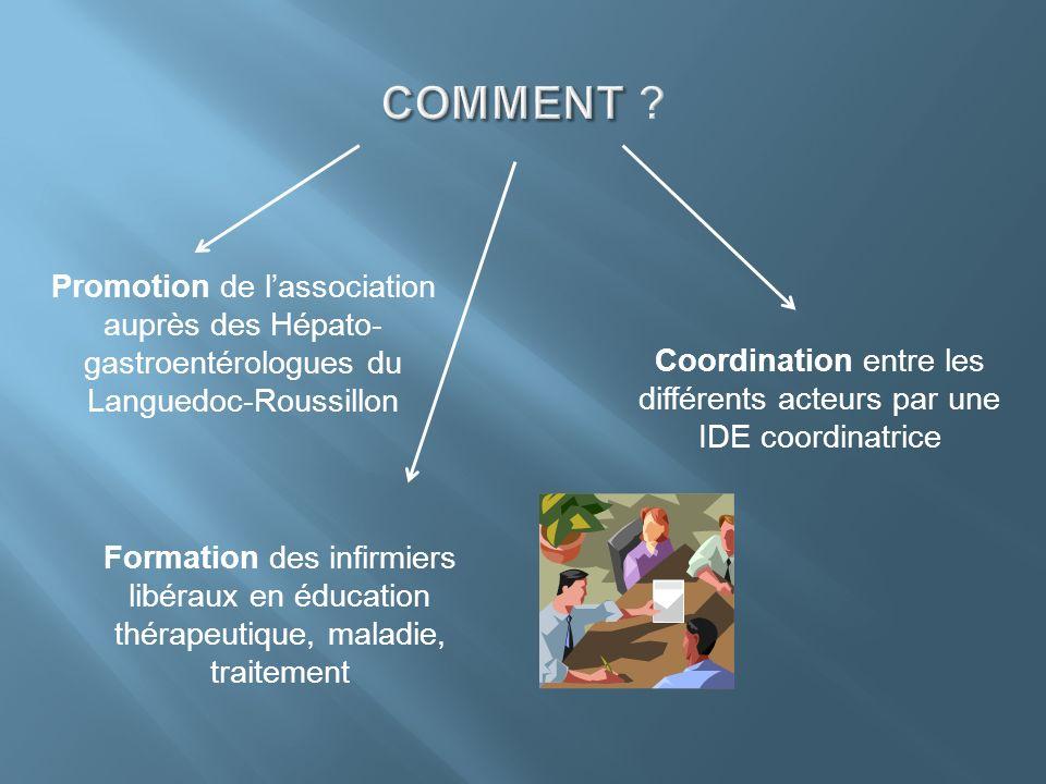 Promotion de lassociation auprès des Hépato- gastroentérologues du Languedoc-Roussillon Formation des infirmiers libéraux en éducation thérapeutique,