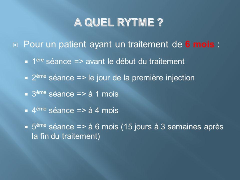 Pour un patient ayant un traitement de 6 mois : 1 ère séance => avant le début du traitement 2 ème séance => le jour de la première injection 3 ème sé