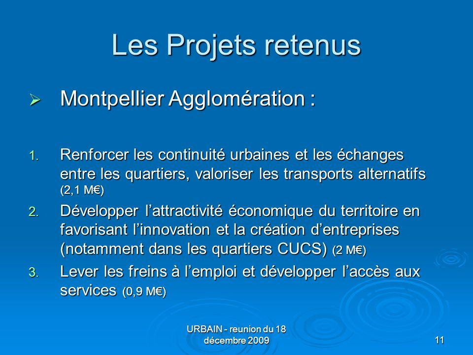 URBAIN - reunion du 18 décembre 200911 Les Projets retenus Montpellier Agglomération : Montpellier Agglomération : 1.