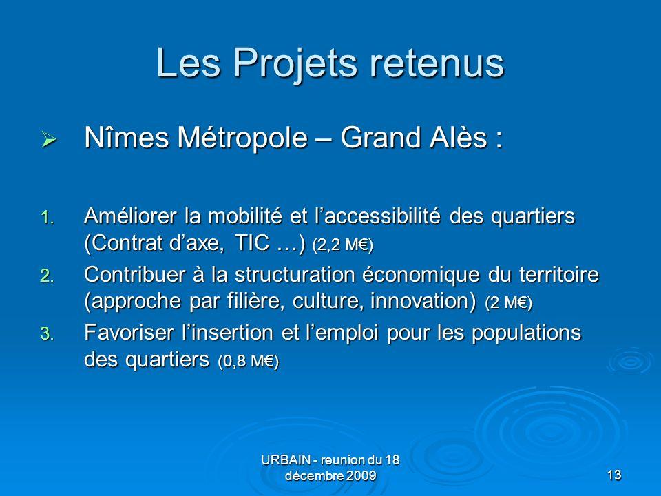 URBAIN - reunion du 18 décembre 200913 Les Projets retenus Nîmes Métropole – Grand Alès : Nîmes Métropole – Grand Alès : 1.