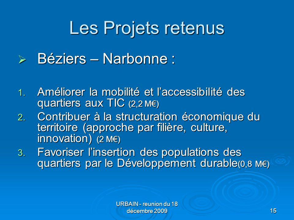 URBAIN - reunion du 18 décembre 200915 Les Projets retenus Béziers – Narbonne : Béziers – Narbonne : 1.