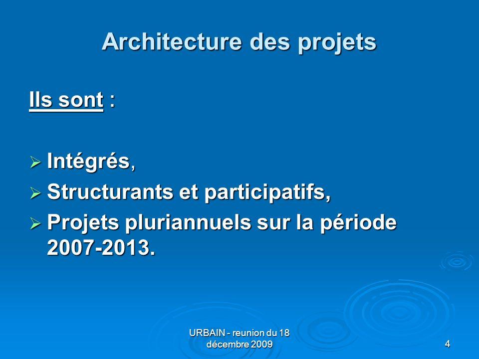 URBAIN - reunion du 18 décembre 20094 Architecture des projets Ils sont : Intégrés, Intégrés, Structurants et participatifs, Structurants et participatifs, Projets pluriannuels sur la période 2007-2013.