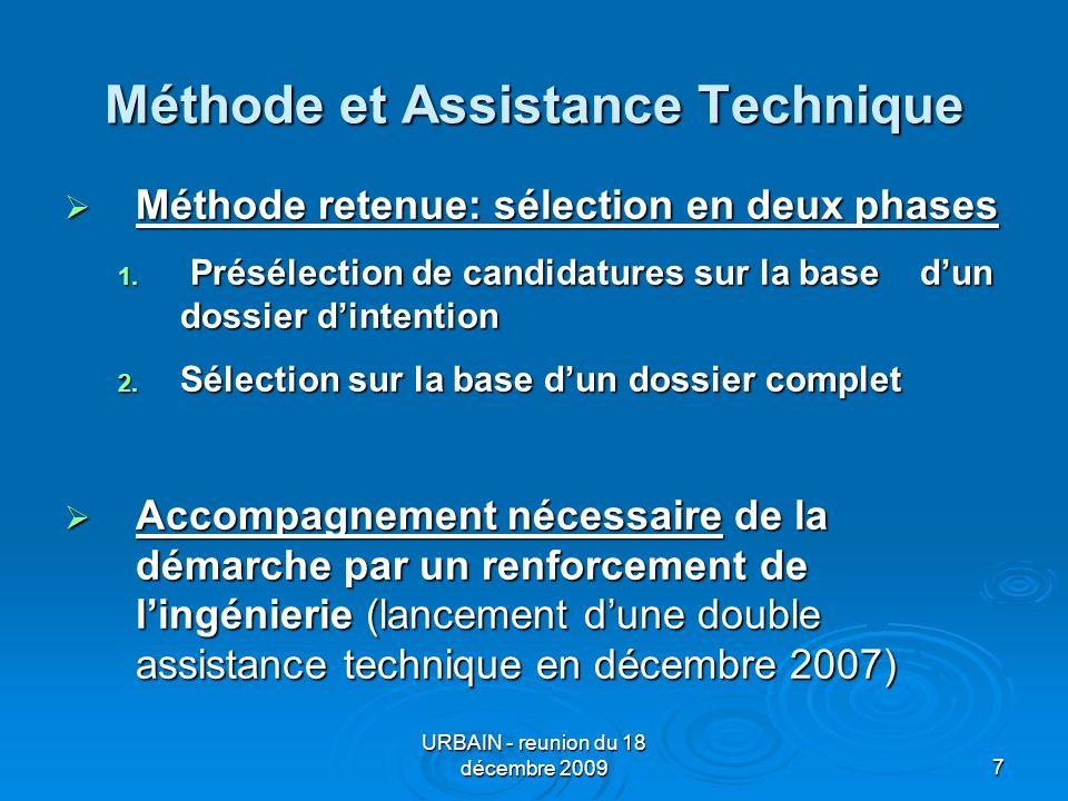 URBAIN - reunion du 18 décembre 20097 Méthode et Assistance Technique Méthode retenue: sélection en deux phases Méthode retenue: sélection en deux phases 1.