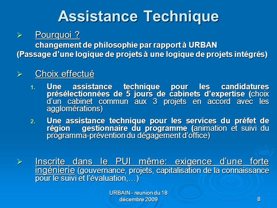 URBAIN - reunion du 18 décembre 20098 Assistance Technique Pourquoi .