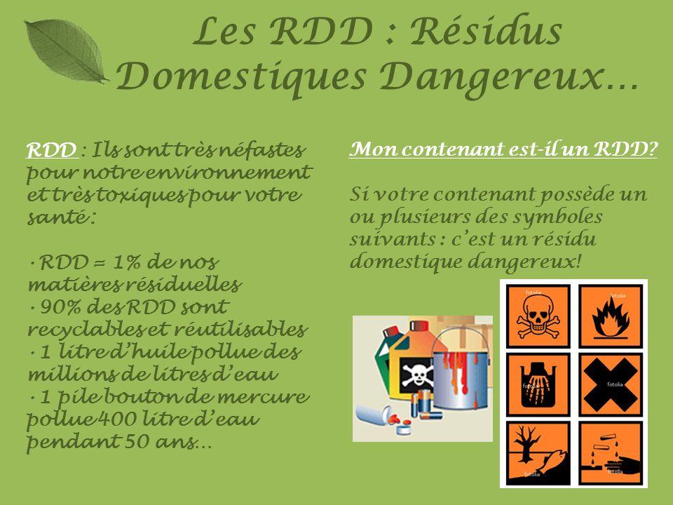 Les RDD : Résidus Domestiques Dangereux… RDD : Ils sont très néfastes pour notre environnement et très toxiques pour votre santé : RDD = 1% de nos mat