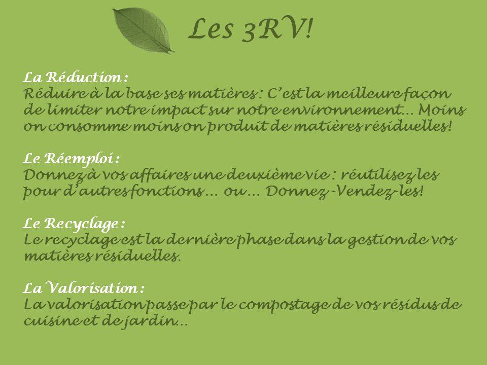 Les 3RV! La Réduction : Réduire à la base ses matières : Cest la meilleure façon de limiter notre impact sur notre environnement… Moins on consomme mo