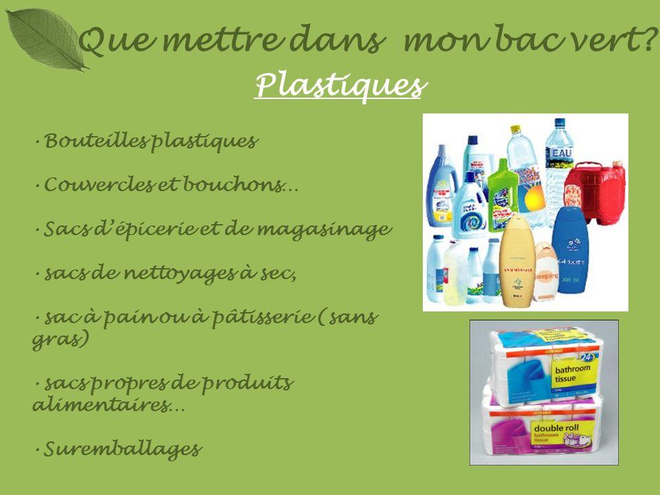 Plastiques Bouteilles plastiques Couvercles et bouchons… Sacs dépicerie et de magasinage sacs de nettoyages à sec, sac à pain ou à pâtisserie (sans gr