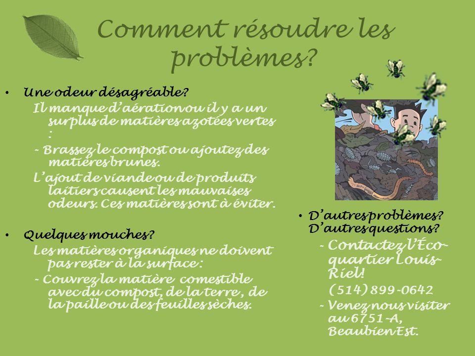 Une odeur désagréable? Il manque daération ou il y a un surplus de matières azotées vertes : - Brassez le compost ou ajoutez des matières brunes. Lajo