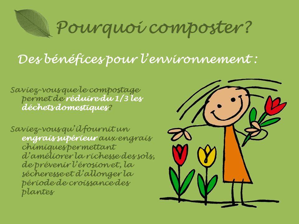 Pourquoi composter? Saviez-vous que le compostage permet de réduire du 1/3 les déchets domestiques? Saviez-vous quil fournit un engrais supérieur aux