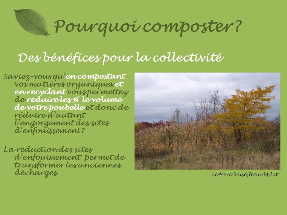 Des bénéfices pour la collectivité Pourquoi composter? Saviez-vous quen compostant vos matières organiques et en recyclant vous permettez de réduire l