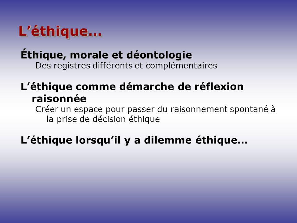 Léthique…Léthique… Éthique, morale et déontologie Des registres différents et complémentaires Léthique comme démarche de réflexion raisonnée Créer un
