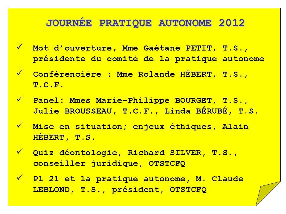 JOURNÉE PRATIQUE AUTONOME 2012 Mot douverture, Mme Gaétane PETIT, T.S., présidente du comité de la pratique autonome Conférencière : Mme Rolande HÉBER