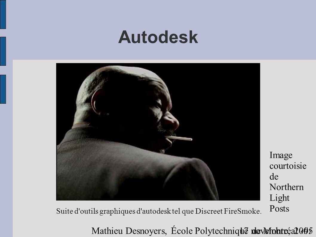 1317 novembre, 2005 Mathieu Desnoyers, École Polytechnique de Montréal Autodesk Suite d outils graphiques d autodesk tel que Discreet FireSmoke.