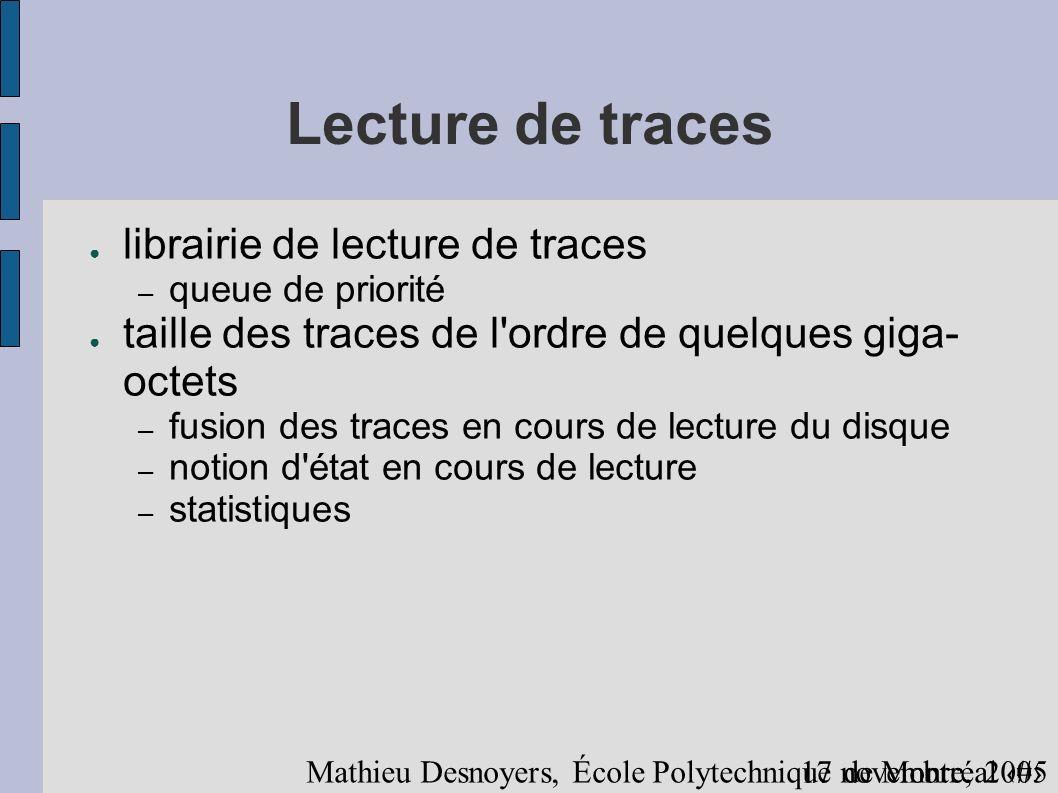 1917 novembre, 2005 Mathieu Desnoyers, École Polytechnique de Montréal Lecture de traces librairie de lecture de traces – queue de priorité taille des traces de l ordre de quelques giga- octets – fusion des traces en cours de lecture du disque – notion d état en cours de lecture – statistiques