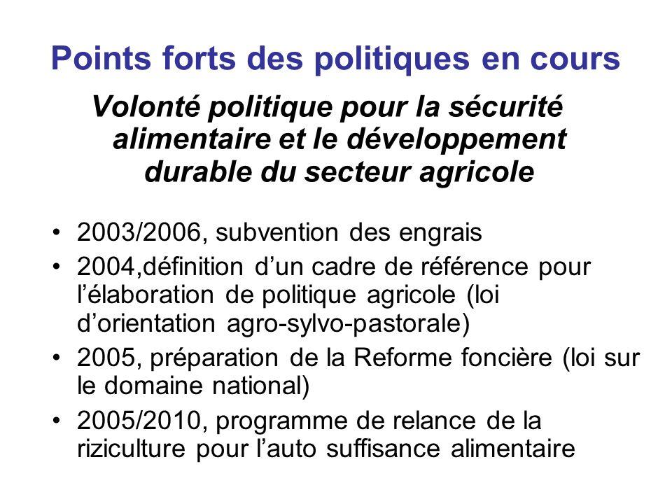Points forts des politiques en cours Volonté politique pour la sécurité alimentaire et le développement durable du secteur agricole 2003/2006, subvent