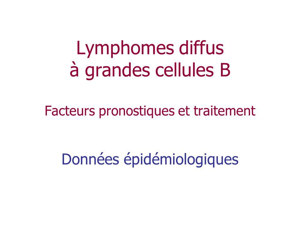 Conclusions (1) Les lymphomes diffus à grandes cellules sont les LNH les plus fréquents LIPI demeure le facteur pronostique clinique le plus important GCB et ABC représentent 2 sous-types de pronostic différent mais une méthode simple et reproductible pour les déterminer reste à définir Lévaluation de la réponse par TEP est prédictive de lévolution à long terme