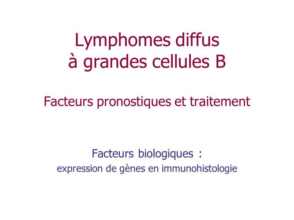Lymphomes diffus à grandes cellules B Facteurs pronostiques et traitement Facteurs biologiques : expression de gènes en immunohistologie
