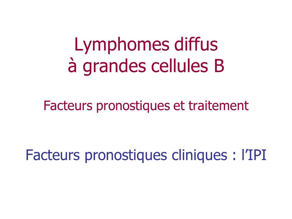 Lymphomes diffus à grandes cellules B Facteurs pronostiques et traitement Facteurs pronostiques cliniques : lIPI