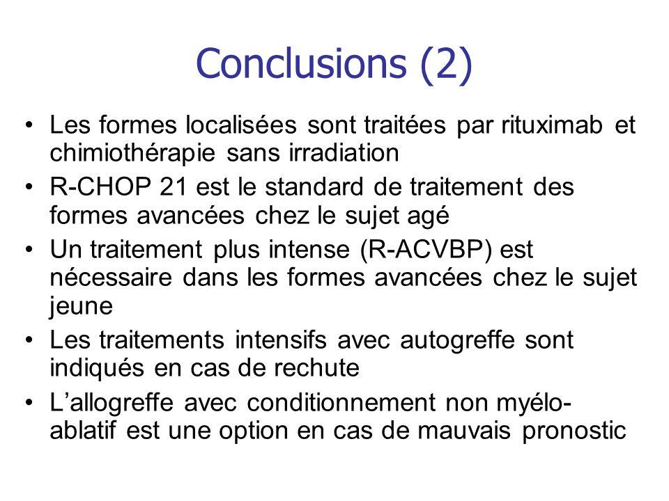 Conclusions (2) Les formes localisées sont traitées par rituximab et chimiothérapie sans irradiation R-CHOP 21 est le standard de traitement des forme