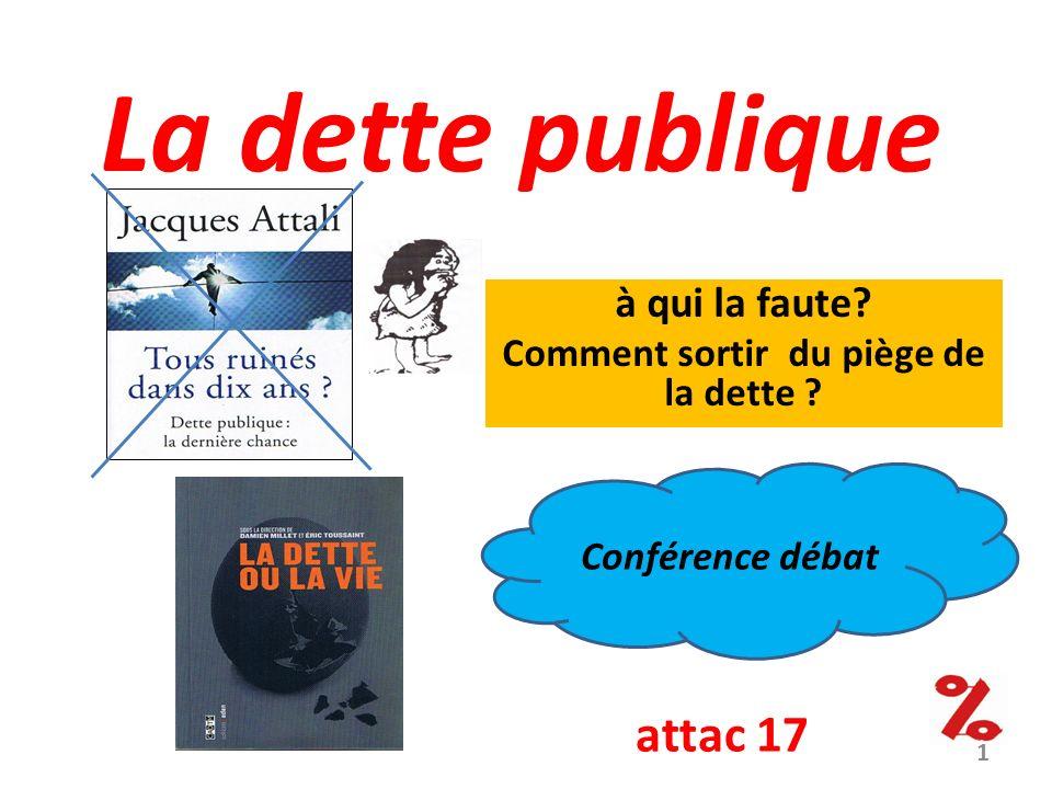 La dette publique à qui la faute? Comment sortir du piège de la dette ? Conférence débat attac 17 1