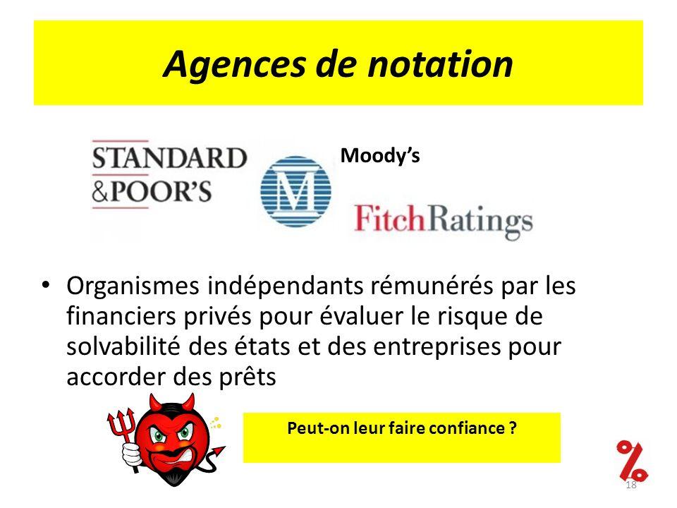 Agences de notation Organismes indépendants rémunérés par les financiers privés pour évaluer le risque de solvabilité des états et des entreprises pou