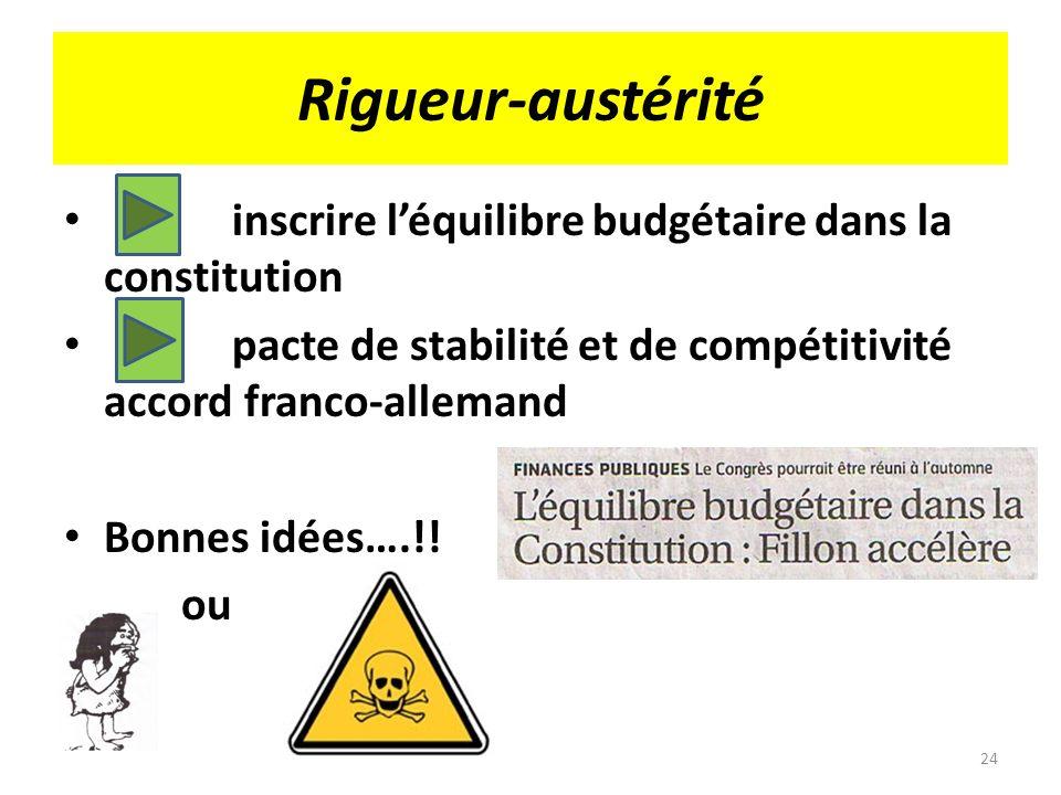 Rigueur-austérité inscrire léquilibre budgétaire dans la constitution pacte de stabilité et de compétitivité accord franco-allemand Bonnes idées….!! o