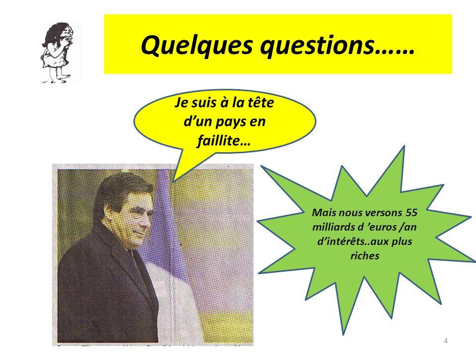 Quelques questions…… Je suis à la tête dun pays en faillite… Mais nous versons 55 milliards d euros /an dintérêts..aux plus riches 4