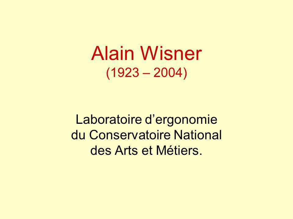Alain Wisner (1923 – 2004) Laboratoire dergonomie du Conservatoire National des Arts et Métiers.