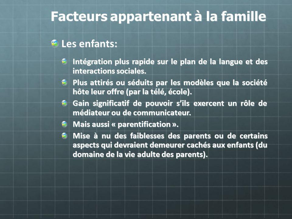 Facteurs appartenant à la famille Les enfants: Intégration plus rapide sur le plan de la langue et des interactions sociales. Plus attirés ou séduits