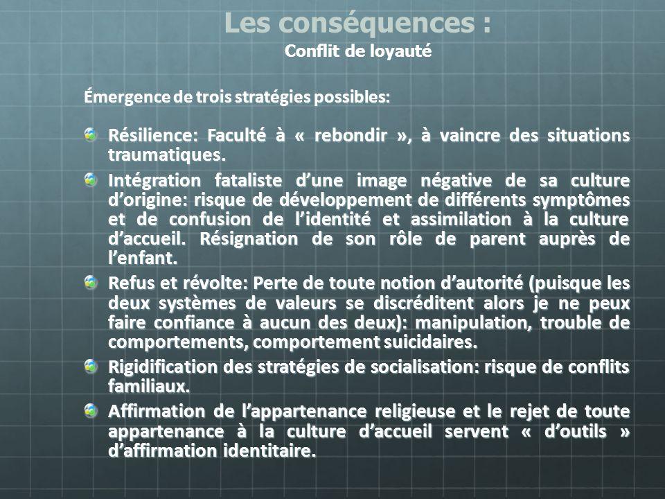 Émergence de trois stratégies possibles: Résilience: Faculté à « rebondir », à vaincre des situations traumatiques. Intégration fataliste dune image n