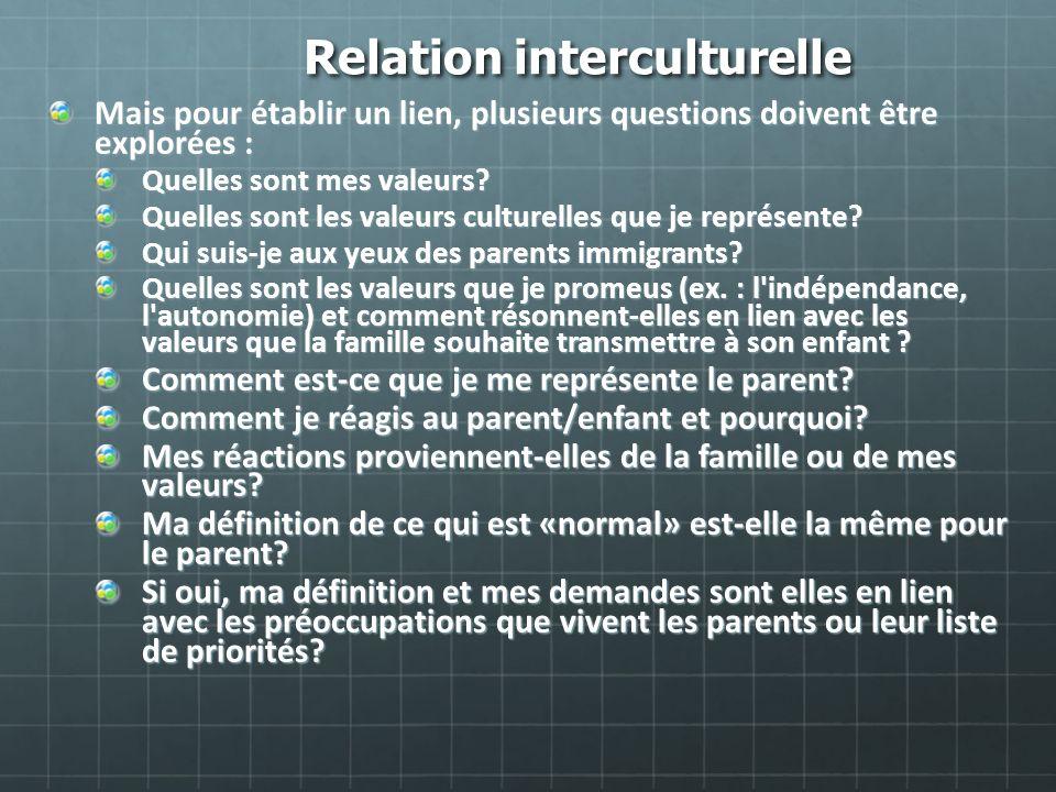 Relation interculturelle Mais pour établir un lien, plusieurs questions doivent être explorées : Quelles sont mes valeurs? Quelles sont les valeurs cu