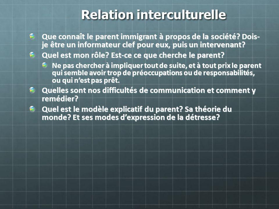 Relation interculturelle Que connaît le parent immigrant à propos de la société? Dois- je être un informateur clef pour eux, puis un intervenant? Quel
