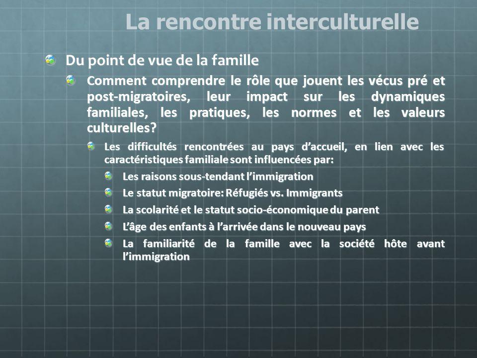 Du point de vue de la famille Comment comprendre le rôle que jouent les vécus pré et post-migratoires, leur impact sur les dynamiques familiales, les