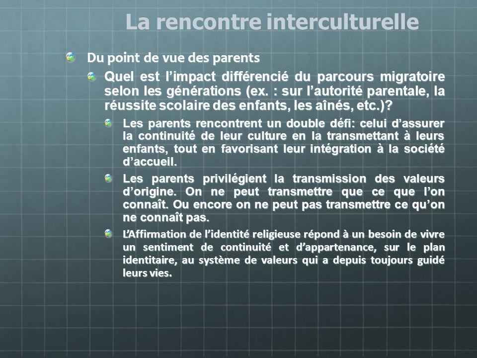 Du point de vue des parents Quel est limpact différencié du parcours migratoire selon les générations (ex. : sur lautorité parentale, la réussite scol