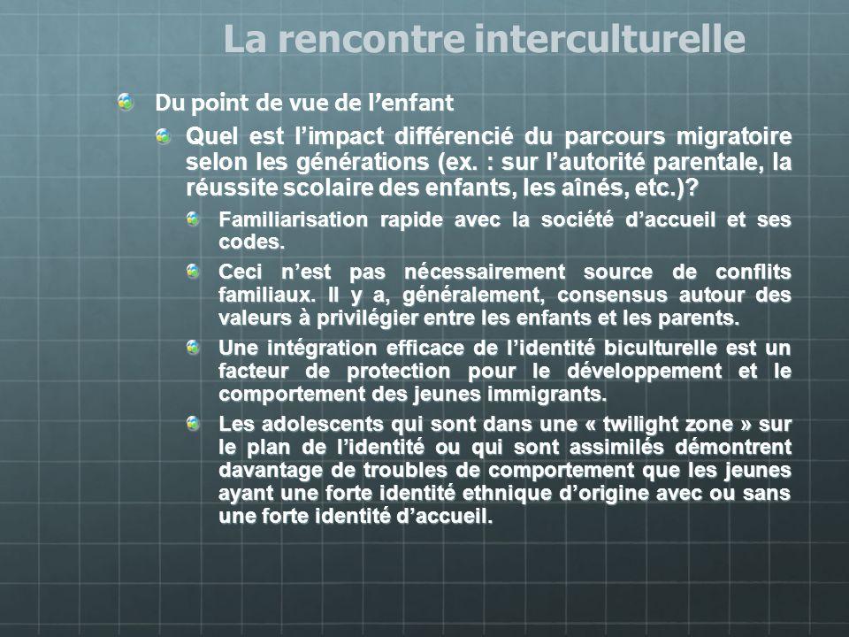 Du point de vue de lenfant Quel est limpact différencié du parcours migratoire selon les générations (ex. : sur lautorité parentale, la réussite scola