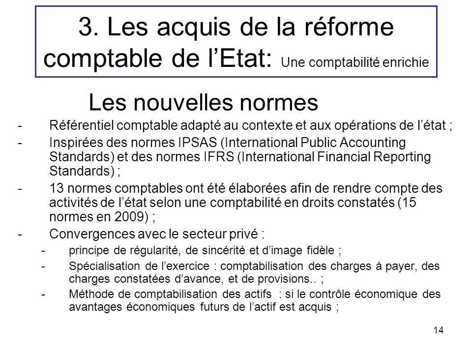 14 3. Les acquis de la réforme comptable de lEtat: Une comptabilité enrichie Les nouvelles normes -Référentiel comptable adapté au contexte et aux opé